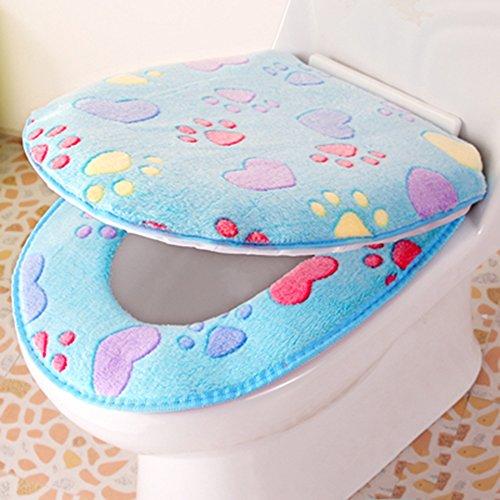 Fantastic Deal! Spritech(TM) Soft Bathroom Warmer Washable Velveteen Cartoon Pattern Toilet Seat Cov...