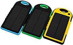 Fuel Saver Indias Solar Panel Charger 5000mAh Water Resistant & Shockproof Dual-Port Ultra Compact External Battery Portable USB Charger Power Bank for ALL MOBILES CAMERAS ETC