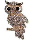 Yazilind Jewelry Gold Plated Full Inlay Crystal Cute Owl Brooches and Pins for Wedding Party