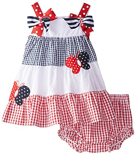 купить Rare Editions Baby Baby Girls' Colorblock Seersucker Dress недорого