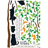 Easy Instant Home Decor Wall Sticker Decal - Kitten Poem Tree