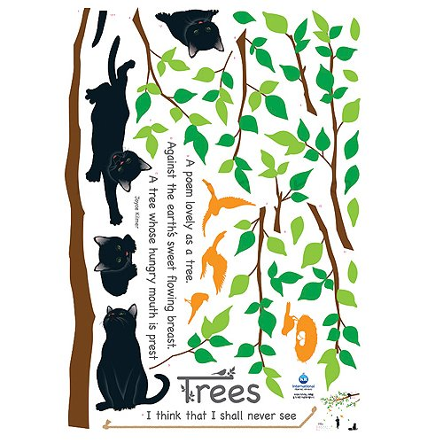 Nursery Easy Apply Wall Sticker Decorations - Kitten Poem Tree