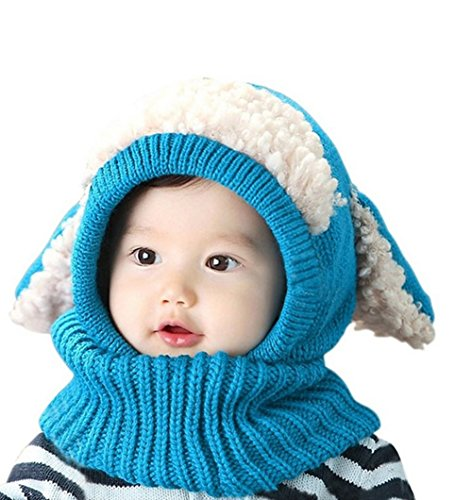 Lanzom Baby Girls Boys Winter Hat Skull Caps Scarf Earflap Hood Scarves (Blue)