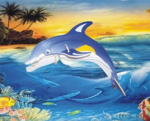 Puzzled Colorful Wood Craft Construction Dolphin 3D Jigsaw Puzzle