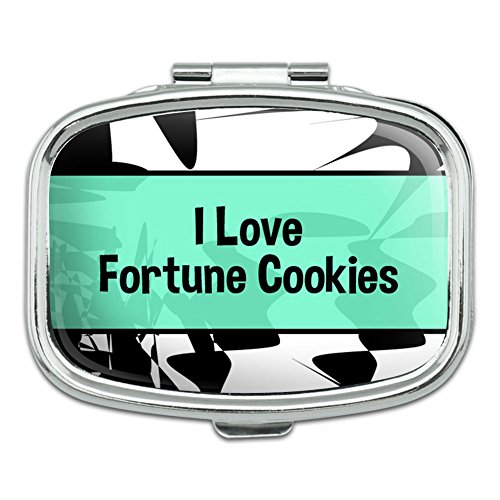 Rectangle Pill Case Trinket Gift Box I Love Heart Food C-F - Fortune Cookies