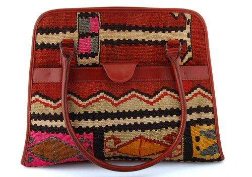 Handmade Turkish Carpet Travel Bag Adorned with Unique Turkish Carpet and Genuine Leather. Turkish Carpet Bag.