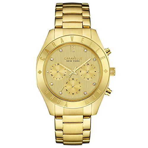 Caravelle New York Gold Boyfriend Women's Quartz Watch with Gold Dial Chronograph Display and Gold Stainless Steel Plated Bracelet 44L213