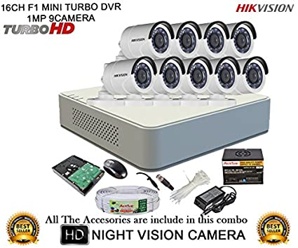 Hikvision-DS-7116HGHI-F1-16CH-Dvr-,-9(DS-2CE16C2T-IR)-Bullet-Camera-(With-Mouse,-Remote,-2TB-HDD-,-Bnc&Dc-Connectors,Power-Supply-,Cable)