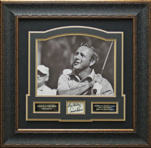 Arnold Palmer Signed Picture - Card Collage matted Framed - Autographed Golf Photos