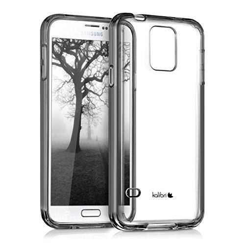 kalibri-Crystal-Case-Hlle-Sunny-fr-Samsung-Galaxy-S5-S5-Neo-S5-LTE-S5-Duos-transparente-Kunststoff-Schutzhlle-mit-TPU-Silikon-Rahmen-in-Schwarz-Transparent