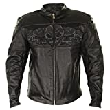 Xelement Mens Armored Leather Motorcycle Jacket with Skull Embroidery – X-Large by Leather Factory Outlet