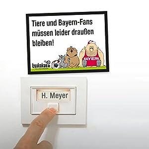 Anti-Bayern-Klingelschild - Dortmund-, Schalke- und alle Fußball-Fans aufgepasst. Witziges Geschenk für Freunde, Kollegen, Geburtstage und Partys - Klingelschilder, Büroschilder, Türschilder, Warnschilder, Hunde Verbotsschilder Zutrittsschild, Eingang