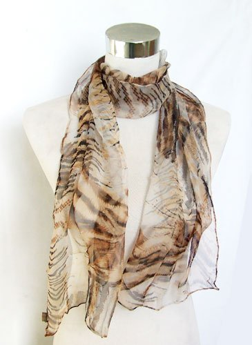 Chiffon Sheer Hand-Sewn Brown Animal Print - Silk Long Scarf 13 x 62