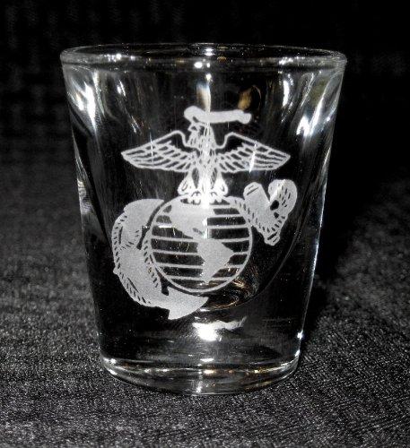Standard Etched Shot Glass Marine Corp Eagle Globe Anchor