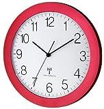 Funk-Wanduhr TFA 60.3512.05 rot-metallic mit Lautlos Sweep-Uhrwerk 300 mm