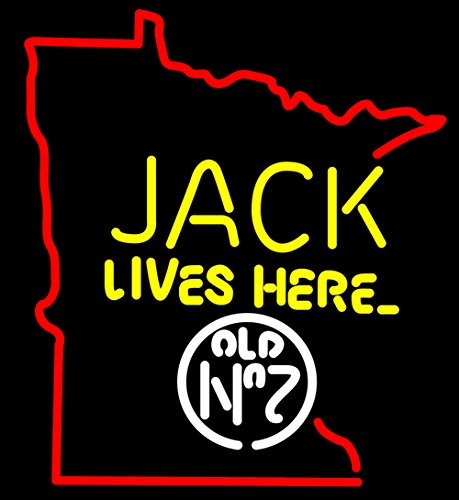 New Jack Lives Here Minnesota Beer Bar Pub Hand-Made Real Glass Neon Light Sign 19X15 Inches