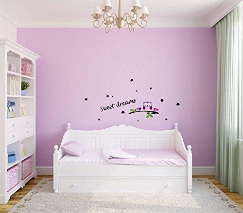 Wandtattoo-Wandsticker-Sweet-dreams-Tiere-Eule-Vogel-Kinderzimmer-Trume-A042