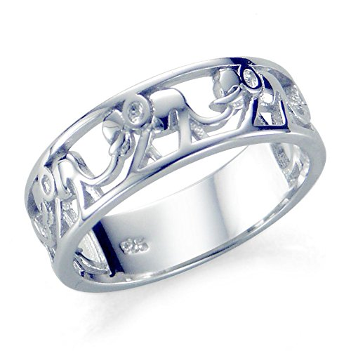 Sz 6 Sterling Silver 925 Elephant Migration Ring (Elephant Rings For Women compare prices)