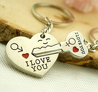 Maycom? Creative Fashion Romantic Couple Keychain Key Chain Ring Keyring Key Fob for Valentine's Day Gift