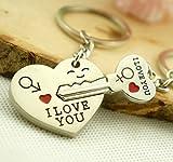 "Liroyal Couple Keychain Keyring --- ""I Love You"" Heart + Key --- Lover Sweetheart Gift for Valentines Day / Wedding Anniversary / Birthda(1 pair) (SILVER, 1)"
