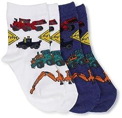 Country Kids Baby Boys' Heavy Equipment 2 Pair Socks, White/Denim, 12 24 Months