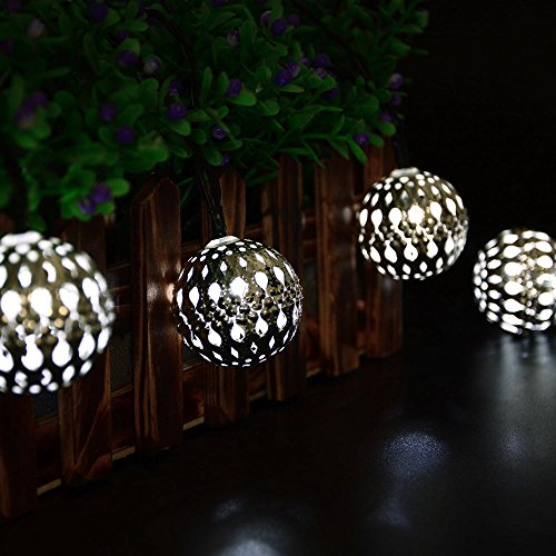 lederTEK Solar Powered Moroccan Globe String Lights 10 LED 11ft Fairy Christmas Metal Lantern Lighting 2 Modes For Outdoor, Garden, Patio, Festival, Wedding, Bedroom, Xmas Tree Decoration(White)