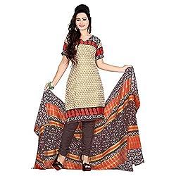 M Fab Printed Cream Cotton Un Stitched Dress Material
