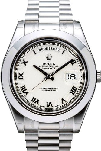 Rolex Day-Date II President Platinum Watch, Ivory Concentric Dial