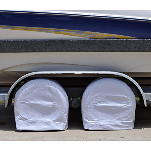 TCP Global Set of 2 Waterproof Vinyl RV Wheel & Tire Covers, Fits 29