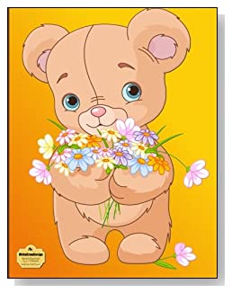 Teddy Bear With Flowers Notebook - Adorable stuffed teddy bear with an armful of wildflowers makes such a cute cover for this blank and college ruled notebook with blank pages on the left and lined pages on the right.