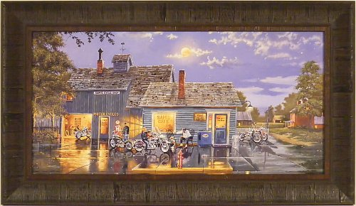 Sam's Café by Dave Barnhouse 16x28 Harley Davidson Motorcycles Bikes Americana Framed Art Print Wall Décor Picture