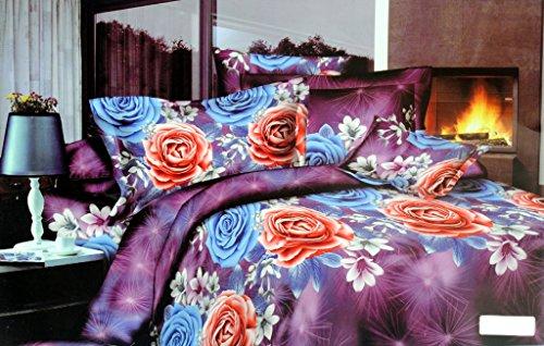 Valtellina Valtellina Magnificent Red  Blue Rose 4D Print Double Bed Sheet