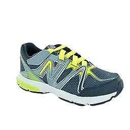 New Balance KV697 Youth Hook and Loop Running Shoe (Little Kid/Big Kid), Grey/Yellow, 11 M US Little Kid