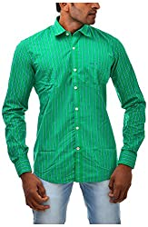 Casinova Men's Cotton Casual Shirt (PG_89-Large, Green, Large)