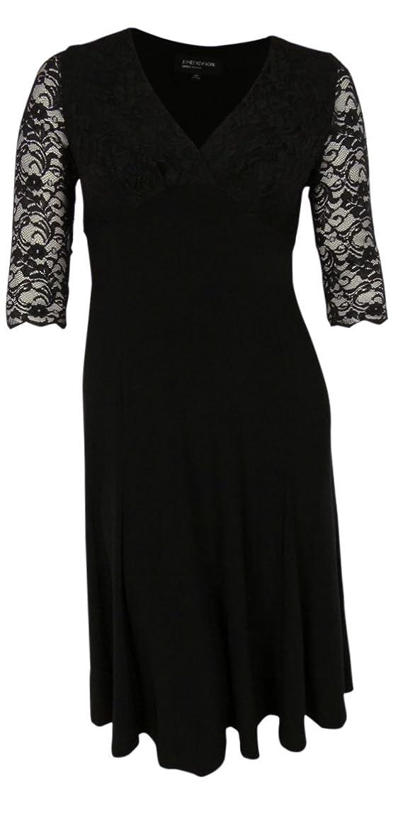 Jones New York Women's Deep V-Neck Flare Jersey Dress