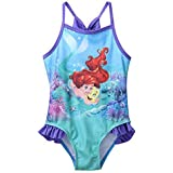 Toygully Little Girls Blue Little Mermaid Print One Pc Bikini Ruffle Swimsuit Size 4T : 4-5 Yrs Old