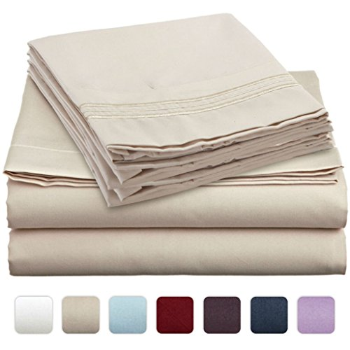 #1 Bed Sheet Set On Amazon - Super Silky Soft - Sale - Highest Quality 100% Brushed Microfiber 1800 Bedding Collections - Wrinkle, Fade, Stain Resistant - Hypoallergenic - Deep Pockets - Luxury Fitted & Flat Sheets, Pillowcases - Best For Bedroom, Guest R front-766450