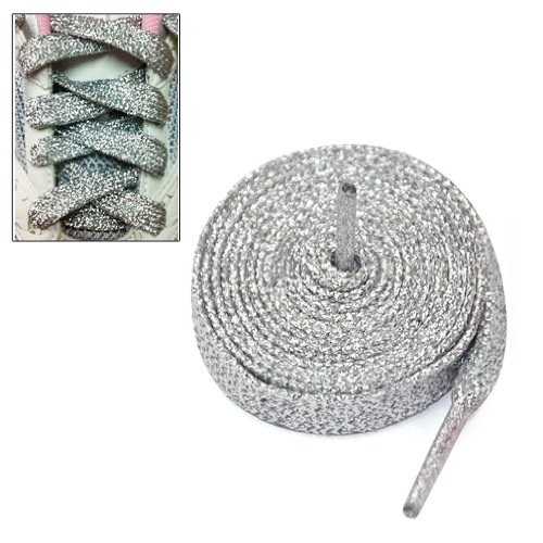 """Gleader Lacci delle scarpe 47 """"glitter PIATTO COLORATO SPORT DANZA FANCY DRESS-argento"""