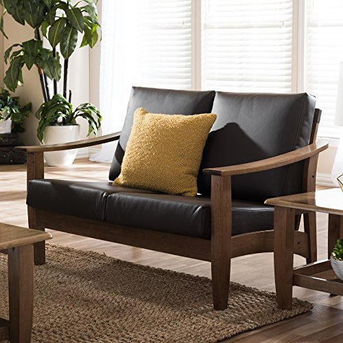Baxton Studio Philbert Mid Century Modern Walnut Wood and Dark Brown Faux Leather 2 Seater Loveseat Sofa 5