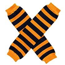 Orange Black Halloween Spooky Stripe - Leg Warmers - Baby, Toddler, Little Girl, Boy