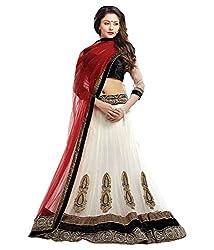AIKA White Net Fabric Semi-stitched Lehenga Choli