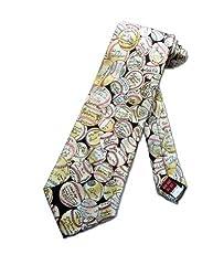 Museum Artifacts Mens Baseball Autographs Necktie - Beige - One Size Neck Tie