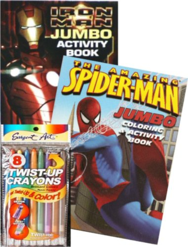 Spiderman And Iron Man Jumbo Coloring Book Set With Twist-Up Crayons back-502358