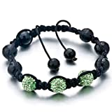Green and black shamballa bracelet Picture