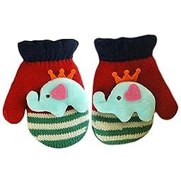 Smartlife Baby Girls Boys Super Warm Wool Yarn Knit Mittens Gloves for Kid 2-5 years(Elephant)