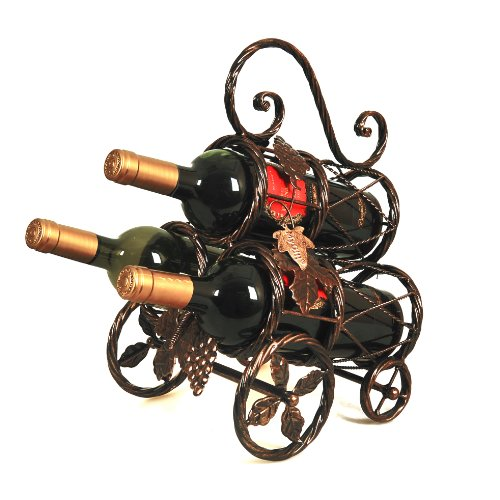Rustic Classic Bronze Tone Finish Braided Metal 3 Bottle Table Top Wine Holder Organizer Display Serving Rack With Top Handle front-1012253