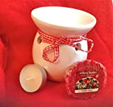 WHITE YANKEE CANDLE AROMATHERAPY OIL BURNER TART WARMER + HOLIDAY MAGIC WAX TART & TEALIGHT (stocking filler christmas xmas)