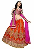 Women's latest Designer Dulhan Lehenga choli Material with Dupatta (Red & Pink)