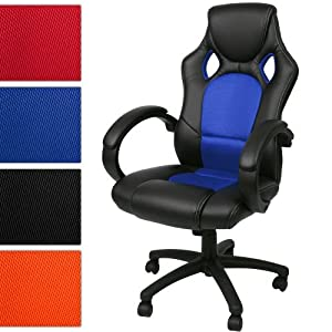 Miadomodo® BDS 22 Synthetic Leather Office Chair DIFFERENT COLOURS (black & blue)