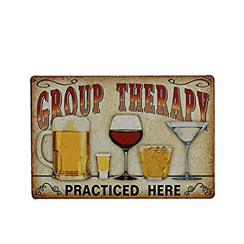 "FENICAL Targhe in metallo vintage Wall placca Poster ""Terapia di gruppo praticato qui"" per Cafe Bar Pub birra Club parete Home Decor"